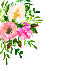 Beautiful floral hand drawn watercolor bouquet, bunch of flowers arrangement, with pink roses, white and purple flowers, isolated on white background. Can be used for invitations or wedding design.