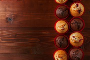 muffins on a dark background