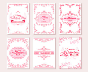 Ornate vertical Valentine's Day greeting cards