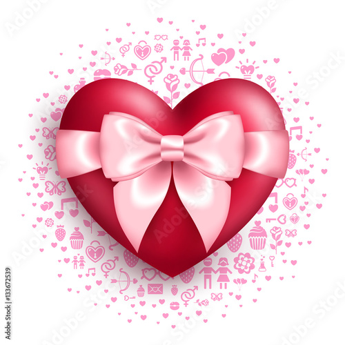 Glossy Red Heart With Pink Bow With Love Symbols Stock Image And