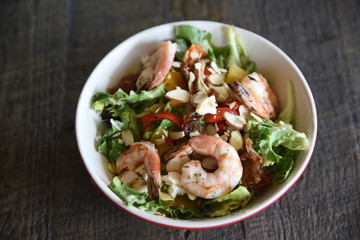 Serving of prawn salad