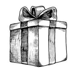 Hand-drawn present box with bow sketch, isolated vector illustration.