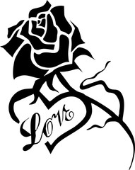 black flower and words love