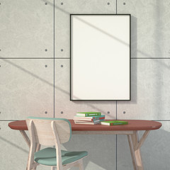 3d illustration interior. Empty poster. Light through the window.