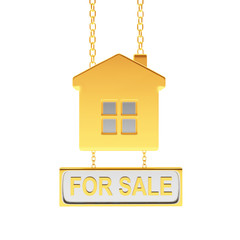 Golden sign in the shape of house with text for sale isolated on white background. 3D illustration