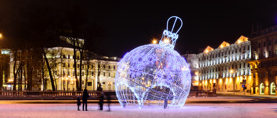 Holiday decorations in the city of Minsk, Christmas, October Square, Minsk, Belarus, in January 2017,