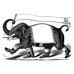 Elephant with boots and banner, vintage engraving