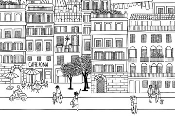 Rome - Hand drawn urban scene of tiny people walking through the city
