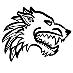 Vector illustration of dire wolf head black and white