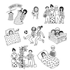 Collection of hand drawn children involved in various activities, like playing, sleeping, reading, caring for one another and doing charitable work