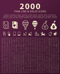 Set of 2000 Minimal and Solid Icons . Vector Isolated Elements.