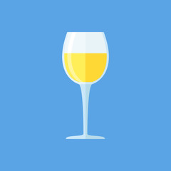Glass of white wine isolated on blue background. Goblet flat style icon. Vector illustration.