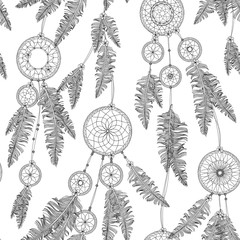 Hand drawn seamless black and white pattern of various dream catchers