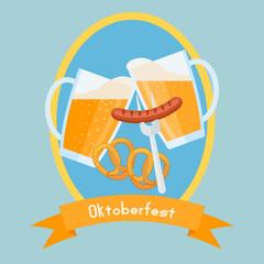 Oktoberfest poster design template. Clinking beer glasses with foam, pretzels and sausage. Beer festival card. Vector illustration.