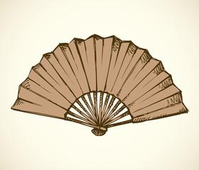 Folding fan. Vector sketch