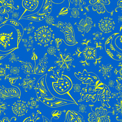 seamless flower pattern on blue background1