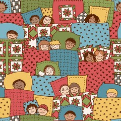 Cute seamless pattern with sleeping kids, funny hand drawn doodle faces and blankets