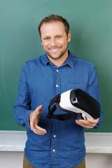 lehrer mit virtual reality brille