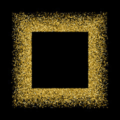 Gold frame glitter texture isolated on black. Golden color of winners. Gilded abstract particles. Explosion of confetti shine. Celebratory background. Vector illustration,eps 10.