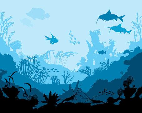 Ocean underwater world with animals