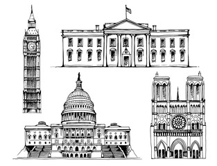 Elizabeth Tower (Big Ben), White House, Capitol Building, Notre Dame de Paris Cathedral vector illustration isolated on white background