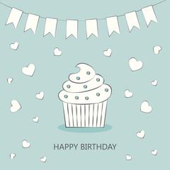 Birthday card. Cake.