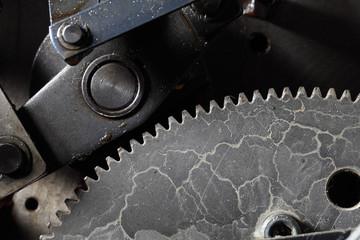 Old dirty gearwheel in work