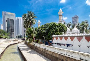 Kuala Lumpur, Malaysia -May 18, 2013: Masjid Jamek Mosque in center of Kuala Lumpur. The mosque was built in 1907