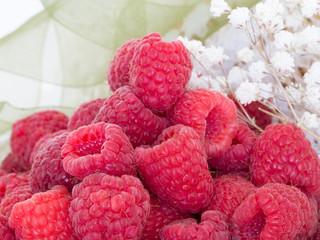 Sweet red raspberries