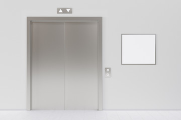 Elevator and blank poster or billboard in the modern office lobb