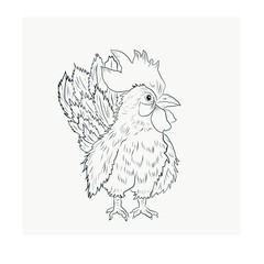 rooster sketch black and white