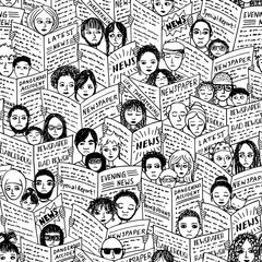 Bad news! Seamless pattern with diverse people, adults and children, reading newspapers, with shocked, fearful and sad facial expressions