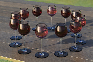 Tasting with circle palette of glasses with red and roze wine