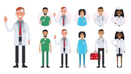 Hospital medical staff team doctors nurses surgeon. Avatars