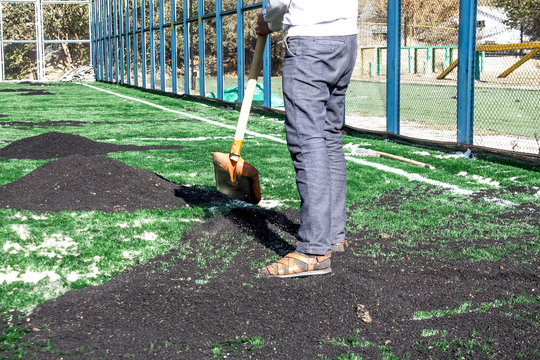 device artificial turf - building playground sand and crumb rubber artificial turf