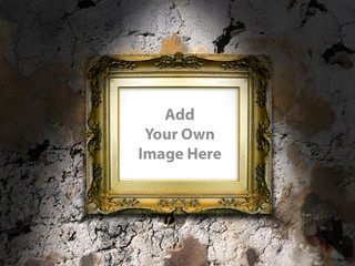 Antique Picture Frame on Stone Wall