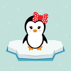 penguin girl on ice