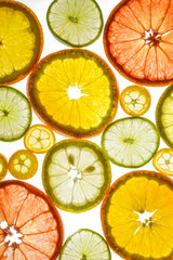 Cut citrus fruits on white background