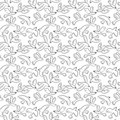 Vector doodle flying birds seamless pattern