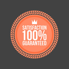 Vector Satisfaction Guaranteed flat badge, Round Label
