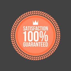 Vector Satisfaction Guaranteed flat badge, Round Label
