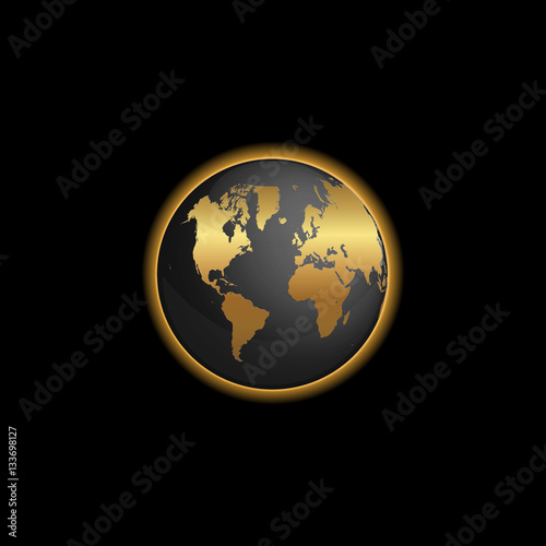 Black And Gold World Map Globe Illustration Stock Image And Royalty - Black and gold world map