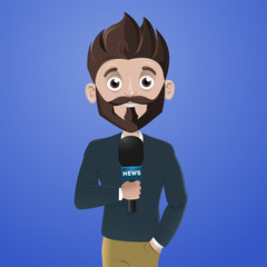 Reporter with microphone