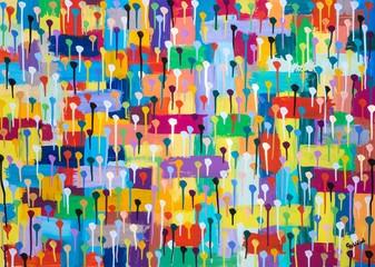 Buntes Gemälde mit Punkten, Kästchen und Tropfen von Carola Vahldiek, Gouache, Muster, Hintergrund