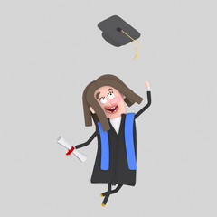 Graduate girl jumping with her cap in the air