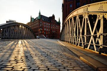 Speicherstadt, historical center of Hamburg at sunset. Neuerwegs