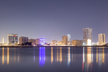 Wall Mural - Skyline of Ras al Khaimah at night