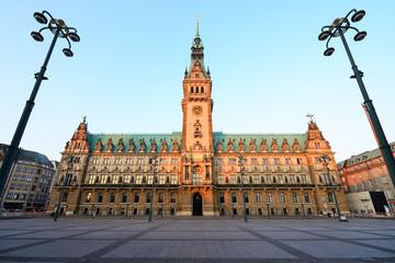 City Hall and market square in Hamburg, Germany