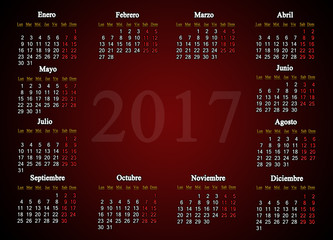 calendar for 2017 in Spanish