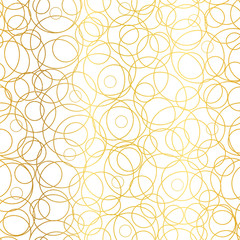 Vector Golden Abstract Circles Bubbles Seamless Pattern Background. Great for elegant gold texture fabric, cards, wedding invitations, wallpaper.
